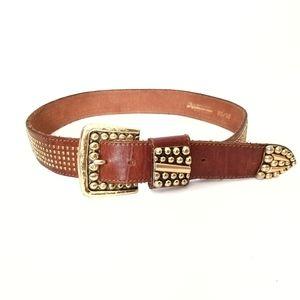 Vtg La Doppia Vita Brown Studded Leather Belt